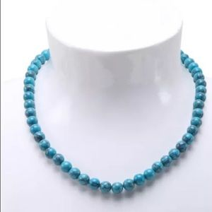 Chic Turquoise Beaded Necklace 17 inches of style